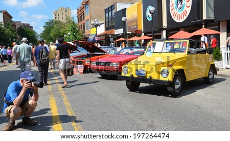 ANN ARBOR, MI - JULY 12: 1975 Volkswagen Thing at the Rolling Sculpture car show  July 12, 2013 in Ann Arbor, MI - stock photo