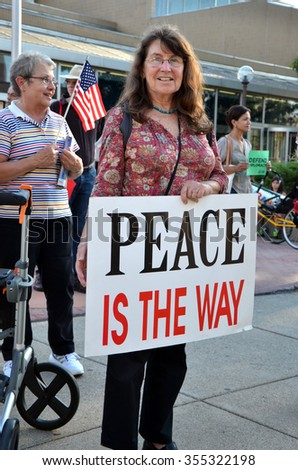 ANN ARBOR, MI - SEPTEMBER 10: Odile Hugonot-Haber participates in a peace rally in Ann Arbor, MI on September 10, 2015.