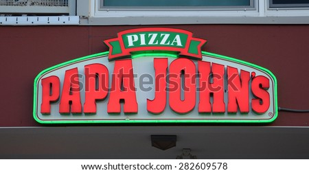 ANN ARBOR, MI - SEPTEMBER 2:  Papa John'??s, whose Ann Arbor, MI store logo is shown on September 2, 2014, has 4,600 locations in 34 countries - stock photo