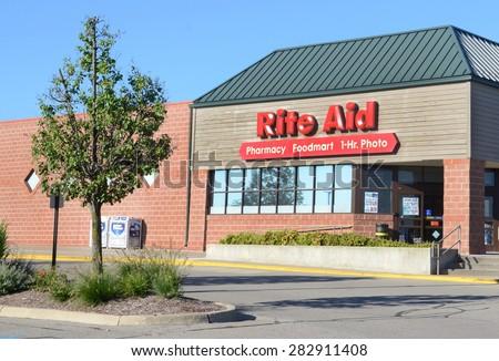 ANN ARBOR, MI - SEPTEMBER 7:  Rite Aid, whose west Ann Arbor, MI store is shown on September 7, 2014, has 4,600 stores.  - stock photo