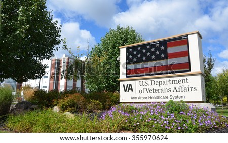 ANN ARBOR, MI - SEPTEMBER 13: The Department of Veterans Affairs' Ann Arbor Healthcare System, shown on September 13, 2015 in Ann Arbor, MI, recently resumed surgeries after some equipment concerns. - stock photo