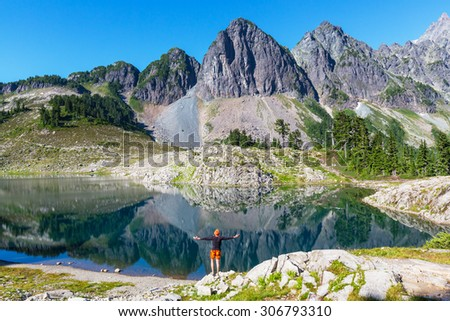 Ann lake and mt.Shuksan,Washington,USA - stock photo