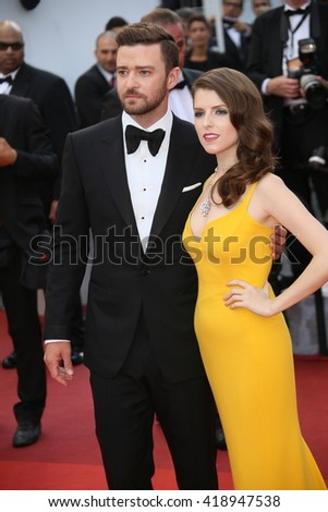 Anna Kendrick,  Justin Timberlake attend the 'Cafe Society' premiere and the Opening Night Gala during the 69th Cannes Film Festival at the Palais des Festivals on May 11, 2016 in Cannes, France. - stock photo