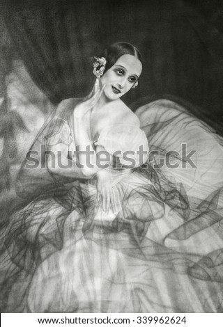 Anna Pavlova, principal dancer of the Imperial Russian Ballet. Print after a painting by Dorothea Cordes. CA. 1910-20.