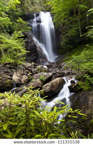 Anna Ruby Falls is located in the Chattahoochee National Forest and is comprised of two creeks coming together.  Here we see York Creek falls at 50 feet. - stock photo