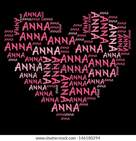 Anna word cloud in pink letters against black background - stock photo