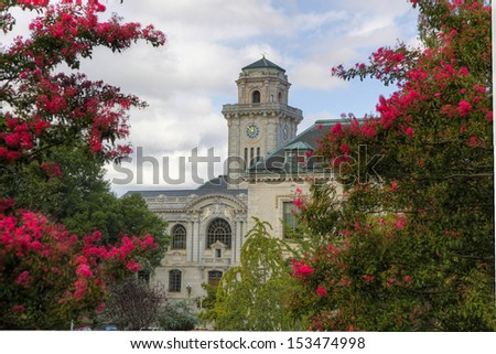 Annapolis church with clock tower - stock photo
