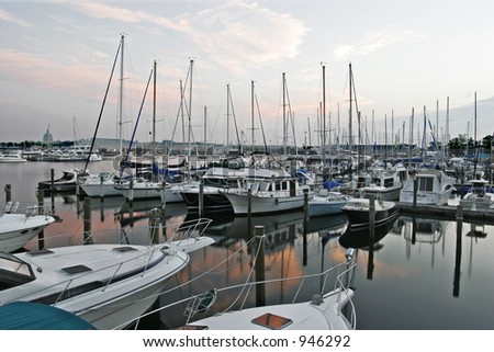 annapolis harbor at morning - stock photo