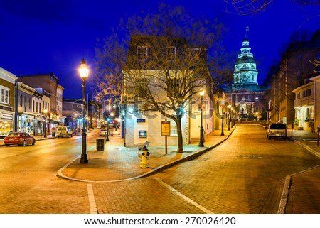 ANNAPOLIS, MARYLAND - APRIL 2, 2015: Downtown Annapolis, Maryland on Main Street. The city is the state capital. - stock photo