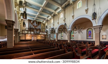 ANNAPOLIS, MARYLAND - JULY 17:  Interior of the St. Anne's Episcopal Church on Duke of Gloucester Street on July 17, 2015 in Annapolis, Maryland