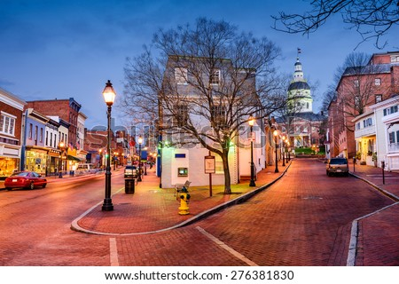 Annapolis, Maryland, USA downtown cityscape on Main Street. - stock photo