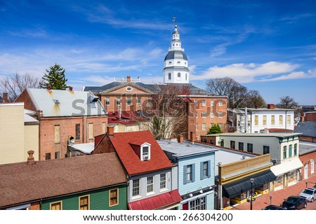 Annapolis, Maryland, USA downtown view over Main Street with the State House. - stock photo