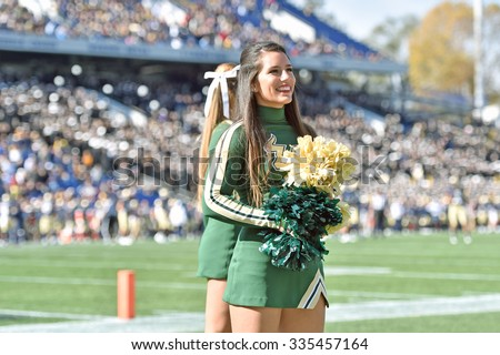 ANNAPOLIS, MD - OCTOBER 31: A University of South Florida cheerleader performs during the AAC football game October 31, 2015 in Annapolis, MD.  - stock photo
