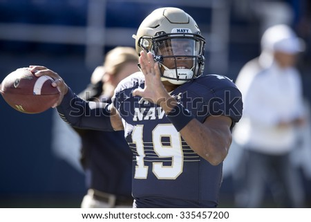 ANNAPOLIS, MD - OCTOBER 31: Navy Midshipmen quarterback Keenan Reynolds (19) warms up prior to the AAC game October 31, 2015 in Annapolis, MD.  - stock photo