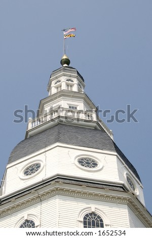 Annapolis Statehouse Capitol. This building served as the first U.S. Capitol for nine months and is the place where George Washington resigned his post from the first Continental Army - stock photo