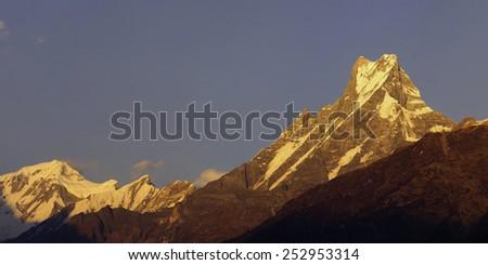 Annapurna Base Camp Trek in Nepal. - stock photo