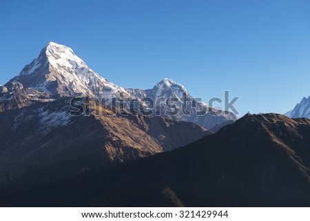 Annapurna  Himalaya Mountains ,Nepal - stock photo