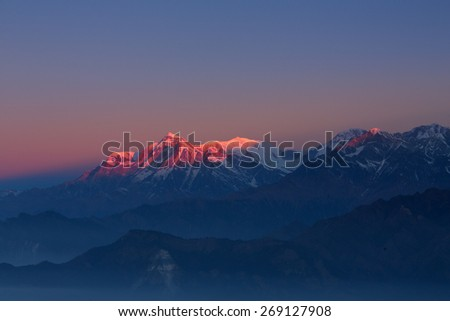 Annapurna I Himalaya Mountains View from Poon Hill 3210m at sunrise - stock photo