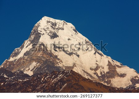Annapurna I Himalaya Mountains View from Poon Hill 3210m in full day