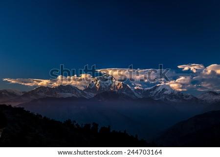 Annapurna in the sunset, Himalayas, Nepal - stock photo