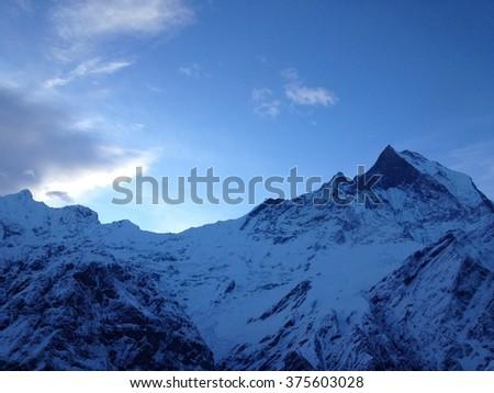 Annapurna mountain and base camp, Nepal - stock photo