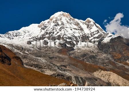 Annapurna South. View from Annapurna Base Camp, Himalayas, Nepal - stock photo