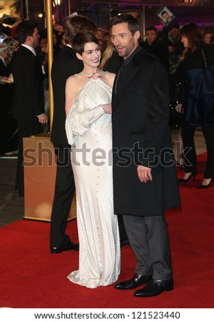 Anne Hathaway and Hugh Jackman arriving at the World Premiere of 'Les Miserables' held at the Odeon & Empire Leicester Square, London. 05/12/2012 Picture by: Henry Harris - stock photo