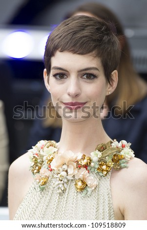 "Anne Hathaway arriving for European premiere of ""The Dark Knight Rises"" at the Odeon Leicester Square, London. 18/07/2012 Picture by: Simon Burchell / Featureflash"