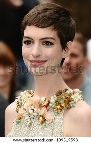 "Anne Hathaway arriving for European premiere of ""The Dark Knight Rises"" at the Odeon Leicester Square, London. 18/07/2012 Picture by: Steve Vas / Featureflash - stock photo"