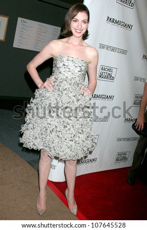 Anne Hathaway   At the Los Angeles premiere of 'Rachel Getting Married'. Writers Guild Theatre, Beverly Hills, CA. 09-15-08 - stock photo