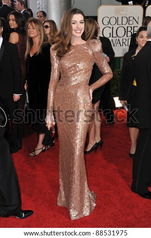 Anne Hathaway at the 68th Annual Golden Globe Awards at the Beverly Hilton Hotel. January 16, 2011  Beverly Hills, CA Picture: Paul Smith / Featureflash - stock photo