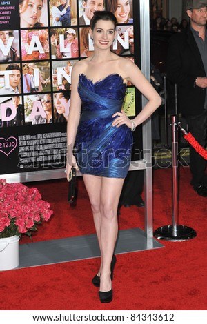 """Anne Hathaway at the world premiere of her new movie """"Valentine's Day"""" at Grauman's Chinese Theatre, Hollywood. February 8, 2010  Los Angeles, CA Picture: Paul Smith / Featureflash - stock photo"""