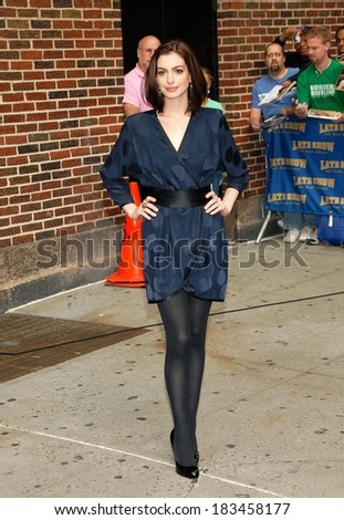 Anne Hathaway, in a Marc Jacobs Resort dress, at talk show appearance for THE LATE SHOW with David Letterman, The Ed Sullivan Theatre, New York, September 30, 2008