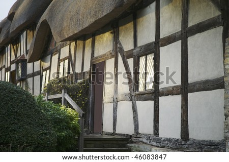 anne hathaways cottage home of william shakespeare stratford upon avon warwickshire. - stock photo