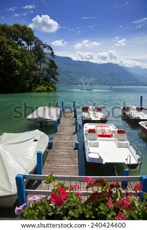 Annecy lake in France (Haute Savoie) during the summer.