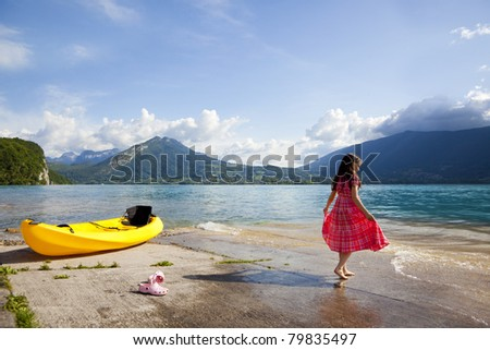 Annecy lake in French Alps, afternoon time. - stock photo