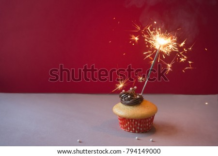 Anniversary Cupcake On Red Background Stock Photo Royalty Free