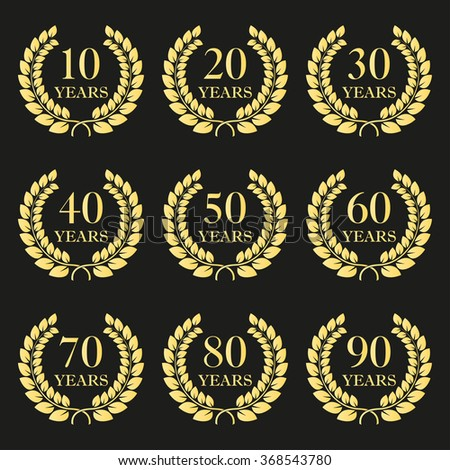 Anniversary laurel wreath icon set. Golden anniversary symbols on black background. 10,20,30,40,50,60,70,80,90 years. Template for award and congratulation design. - stock photo