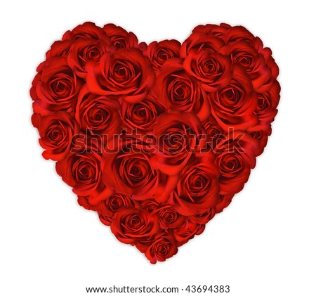 Anniversary Or Valentine Heart Made Out Of Roses On White Background
