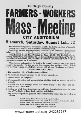 Announcement for a 1937 Farmers Mass meeting sponsored by organized labor, listed demands for relief, wages and pensions. The National Industrial Recovery Act of June 16, 1933, Magna Charta of labor.