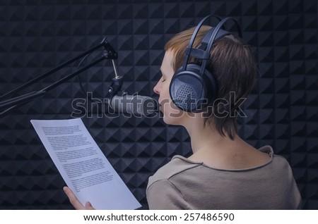 announcer in the studio - stock photo