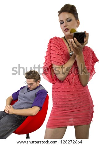 Annoyed Boyfriend.  Waiting for girlfriend to finish applying make up. isolated on a white background. - stock photo
