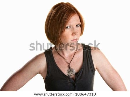 Annoyed red head female over white background - stock photo
