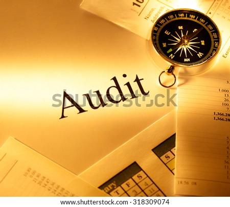 Annual budget, calendar, compass and audit - stock photo
