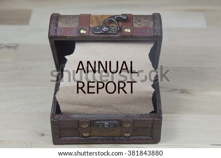 annual report is written on the Brown torn paper in the treasure box