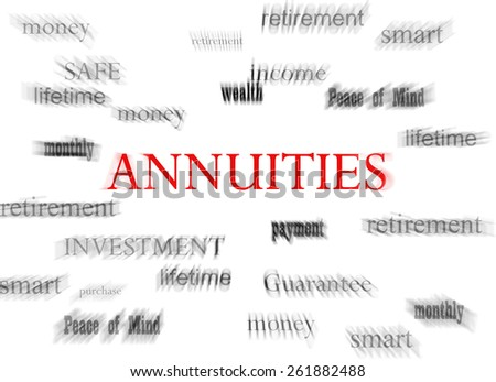 Annuities in red with related terms, on white