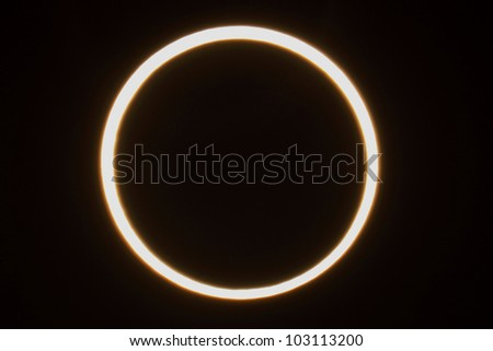 Annular Eclipse of May 20 2012, captured at Journal Pavilion in Albuquerque, NM - stock photo