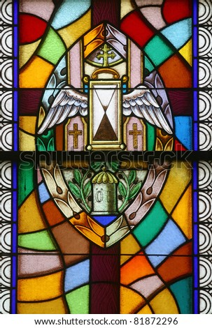 Anointing of the Sick, Seven Sacraments, Stained glass - stock photo
