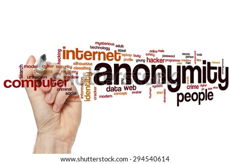 Anonymity word cloud concept with hacker network related tags - stock photo