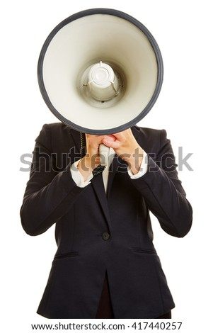 Anonymous businesswoman holding megaphone in front of her face